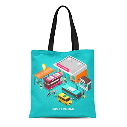 Semtomn Canvas Tote Bag Shoulder Bags Bus Terminal Building Station Public Transport Tourists and Ticket Women's Handle Shoulder Tote Shopper Handbag