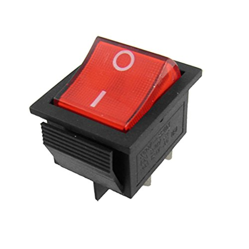 Red Light 4 Pin DPST ON/OFF Snap in Rocker Switch 15A/250V 20A/125V AC 28x22mm - Snap Switch
