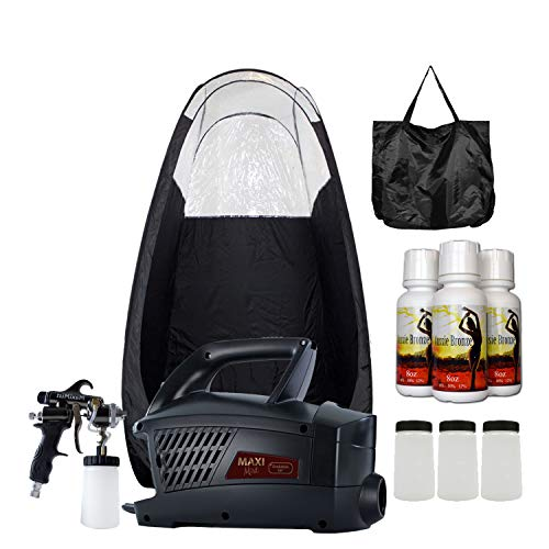 System Tanning Self (MaxiMist Evolution Pro HVLP Spray Tanning System with Pop Up Tan Tent Black)