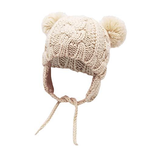 Baby Double Pom Pom Knitted Beanie Hat Earflaps,Crytech Toddler Kids Winter Warm Cute Chunky Thick Knit Ear Flap Cable Skull Snow Ski Cap with Pompom Ears and String for Boy Girl (White)
