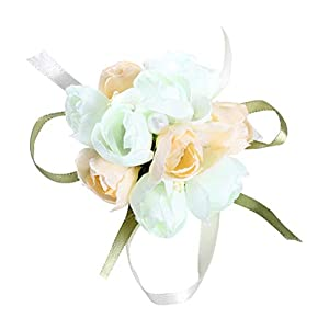 Lurrose Artificial Wrist Flower Corsage Exquisite Floral Hand Wrist Wreath with Wide Ribbon for Bride Bridesmaid (Champagne) 56