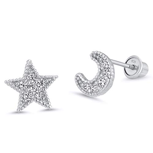 925 Sterling Silver Rhodium Plated Moon and Star Cubic Zirconia Screwback Baby Girls Earrings ()