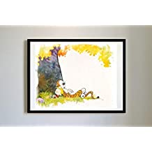 Calvin and Hobbes #16 Watercolor Unique Print Poster Modern Print Decor Water Color (11 x 14)