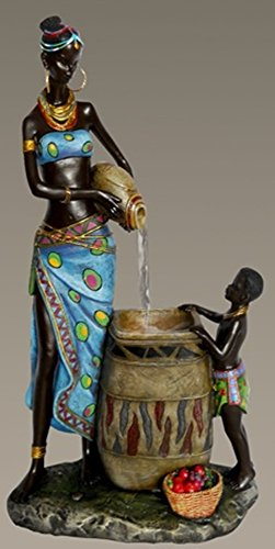 Gorgeous African American Mother and Boy Indoor Water Founta