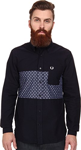 Fred Perry Men's Drake's Panel Oxford Shirt Navy Button-up Shirt LG