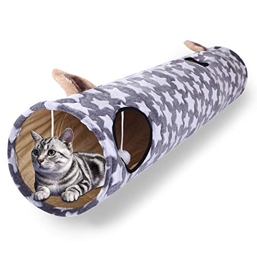 Gray Cat Tunnel - Luckitty Large Cat Toys Collapsible Tunnel Tube with Plush Balls, for Rabbits, Kittens, Ferrets,Puppy and Dogs,Gray,Grey