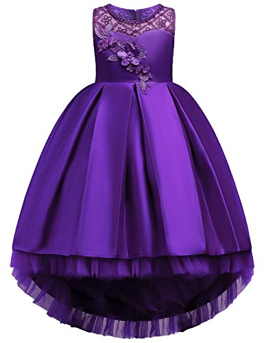 JOYMOM Girls Dresses 7-16 Special Occasion,Wide Neck Sleeveless Rosettes Flattering Ball Gown Kids Puffy Multi Layered Formal Prom Father Daughter Dance Dark Purple Size 160(11-12Y)