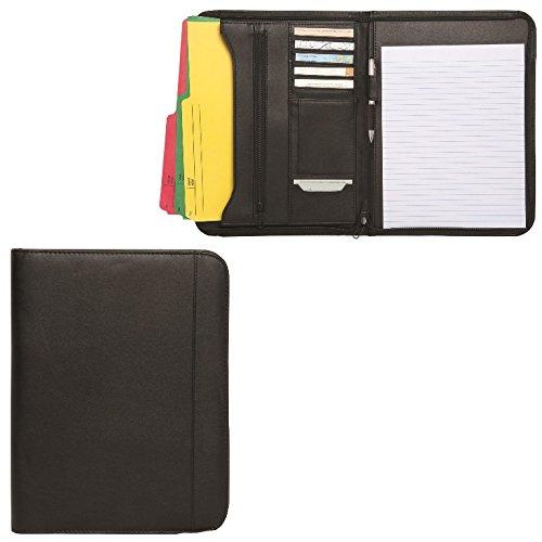 Debco SL615 Zippered Notepad Portfolio Simulated Leather - Black - 12 Pack (Simulated Leather Zippered)