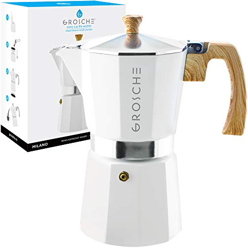 GROSCHE Milano Stovetop Espresso Maker Moka Pot 9 Cup- 15.2 oz, White - Cuban Coffee Maker Stove top coffee maker Moka Italian espresso greca coffee maker brewer ()
