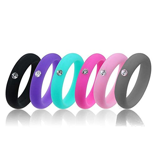 Aolvo Silicone Wedding Ring Band with Rhinestone, Stackable Silicone Rings Bands for Women Men, Silicone Engagement Ring Rubber Band, 6 Pack (Purple, Black, Rose Red, Pink, Light Blue, Grey) ()