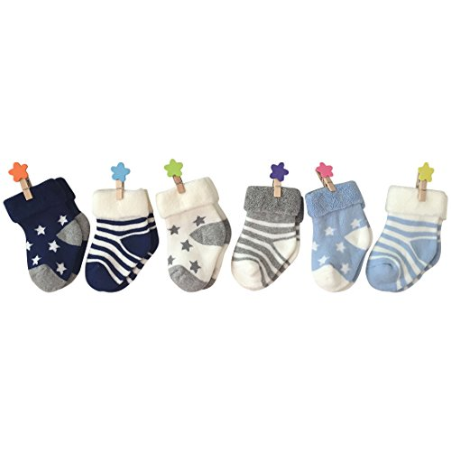 Baby Winter Socks, Colorfox Toddler Baby Shower Decoration Stripes Stars Novelty Cute Cotton Crew Socks 6 Pairs for 6-18 Months -