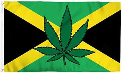 Marijuana Flag 3/' x 5/' Cannabus Pot Leaf on US Fly Flag Banner USA Seller