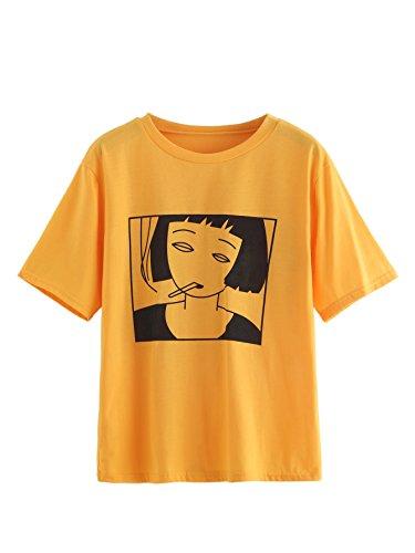 Romwe Women's Girl Print Short Sleeve Top Basic Tee Shirt Yellow L/(US 2) - Gemini Womens Top