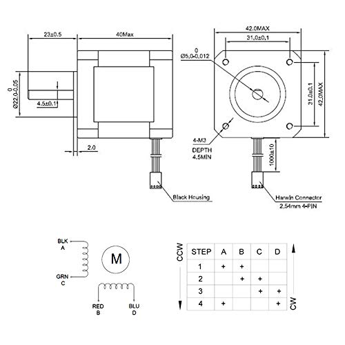 2.0A 42mm Length for 3D Printer//CNC Machine//Robotics HobbyUnlimited 17HS16-2004S 63.7oz.in Nema 17 Stepper Motor 45Ncm