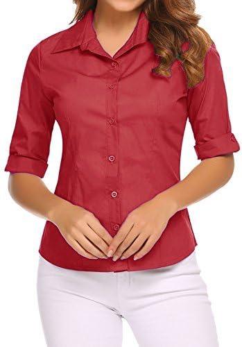 BeautyUU Camicia Donna Manica 3//4 Camicie Basic Camicetta Cotone Formale Eleganti S-XXL