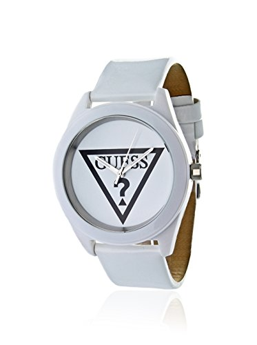 Guess Womens Anniversary White IP Stainless Steel Case Patent Leather Strap Watch W65014L1