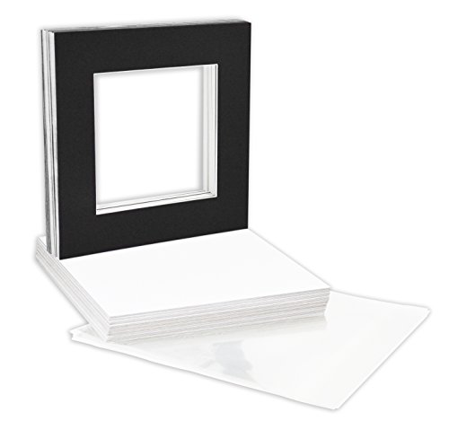 Golden State Art, Pack of 25, 12x12 Black Picture Mats Mattes with White Core Bevel Cut for 8x8 Pictures + Backing + Bags by Golden State Art