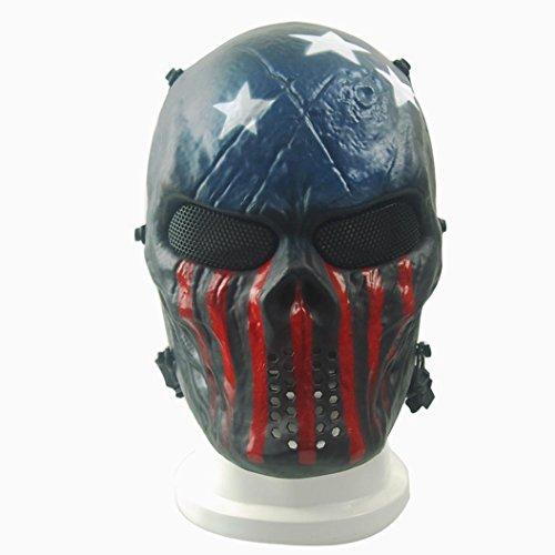 [Bilila Airsoft Paintball Full Face Skull Skeleton CS Mask Tactical Military Halloween (Dark Blue)] (Halloween Skeleton Mask)