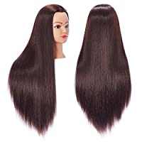 """Hairingrid 26""""-28"""" Mannequin Head Hair Styling Training Head Manikin Cosmetology Doll Head Synthetic Fiber Hair and Free Clamp Holder"""