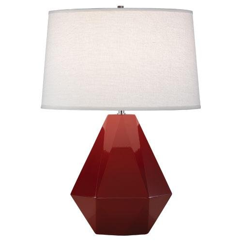 Robert Abbey 938 Lamps with Oyster Linen Shades, Polished Nickel Accented Oxblood Glazed Ceramic Finish ()
