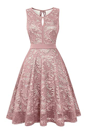 BBX Lephsnt Women's Vintage Floral Lace Sleeveless Party Dress Cocktail Formal Swing Dress Pink