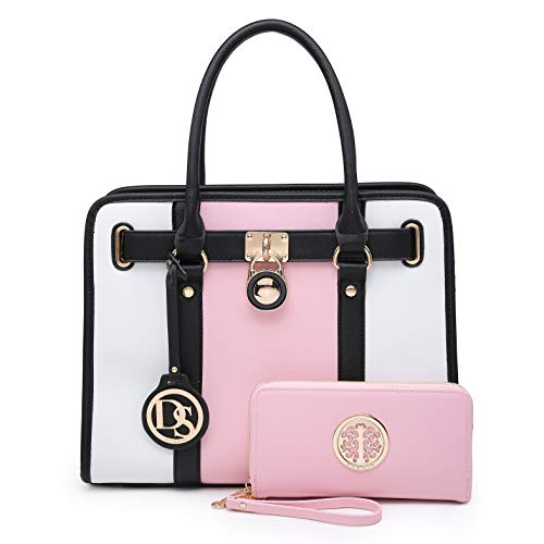 Women Designer Handbags and Purses Two Tone Fashion Satchel Bags Top Handle Shoulder Bags Tote Bags with Matching Wallet