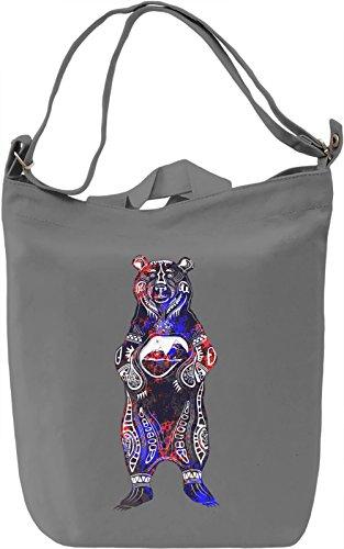 Black Bear Borsa Giornaliera Canvas Canvas Day Bag| 100% Premium Cotton Canvas| DTG Printing|