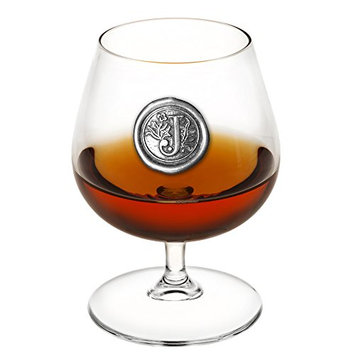 (English Pewter Company 14.5oz Brandy Cognac Snifter Glass With Monogram Initial - Unique Gifts For Men - Personalized Gift With Your Choice of Initial (J) [MON210] )