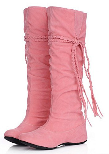 High Slouchy Knee Fringes Fashion Womens Pink Boots IDIFU Heighten PwY1fnq