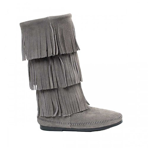 Minnetonka Moccasin 3-Layer,Fransenstiefel,Flex Sohle,Damen,Wildleder Grey