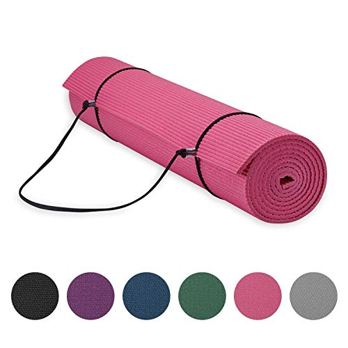 Gaiam Essentials Premium Yoga Mat with Yoga Mat Carrier Sling, Pink, 72 InchL x 24 InchW x 1/4 Inch Thick
