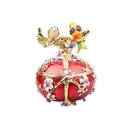Jiaheyou Bird on Faberge Egg Trinket Jewelry Box Necklace Ring Holder Pewter Figures