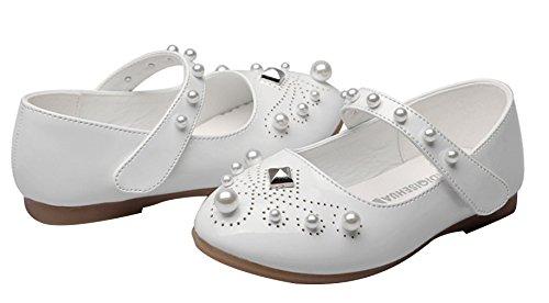 EOZY Kinder Schuhe Mädchen Ballerinas Festliche Hochzeit Schuhe Prinzessin Lackschuhe mit Perle Weiß