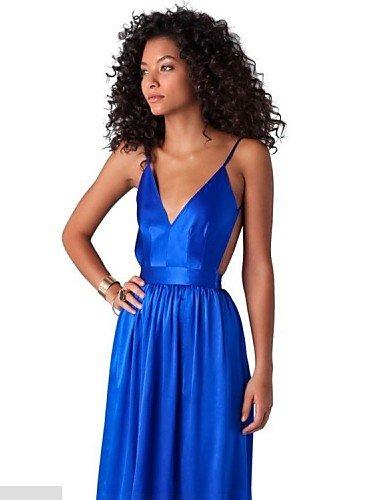 PU&PU Robe Aux femmes Gaine Sexy,Couleur Pleine V Profond Maxi Polyester , royal blue-m , royal blue-m