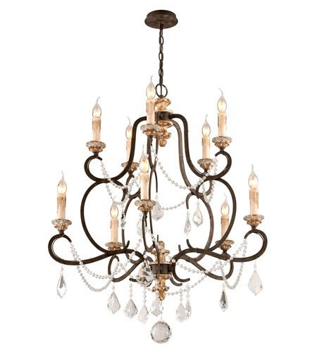 Chandeliers 10 Light with Parisian Bronze Finish Hand-Worked Iron and Wood Material Candelabra 39 inch Long 600 Watts