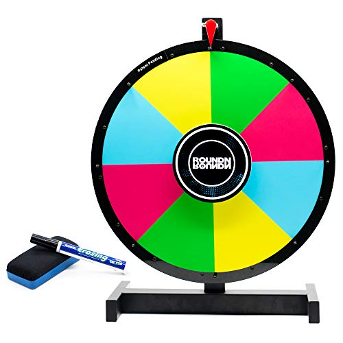 Round N Round Prize Wheel Spinner w/ Heavy Duty Metal Tabletop Stand | Reversible 2-Sided 14 + 8 Slot | Spinning Color Dry Erase Board | Spin to Win the ()