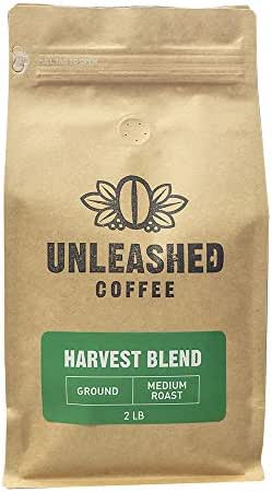 Unleashed Farm Blend Gourmet Medium Roast Coffee Ground Single Estate No Acidity Sustainable Farmer in Minas Gerais Brazil 2lb