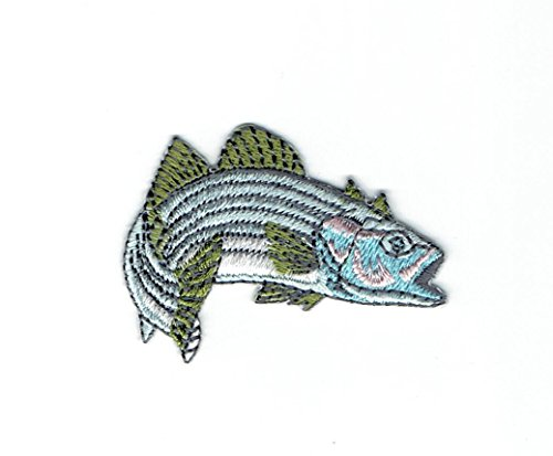 e01821927909a3 Stripe Bass - Facing Right - Fish - Fishing - Blue/Green - Iron on  Embroidered Patch