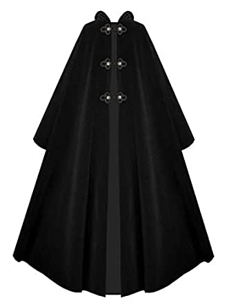 Victorian Vagabond Hooded Steampunk Historical Medieval Gothic Cape Cloak with Buttons and Braided Closures (Black)