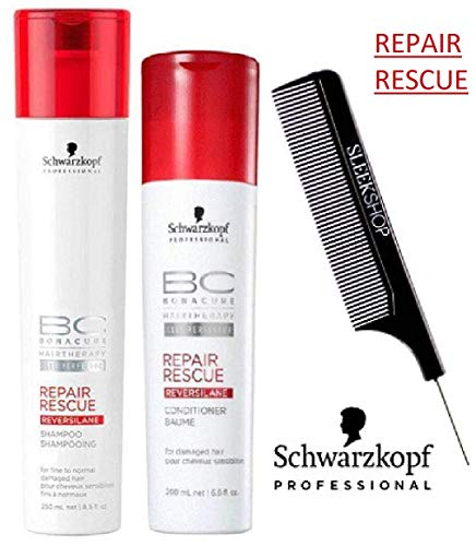 (Schwarzkopf BC Bonacure REPAIR RESCUE SHAMPOO & CONDITIONER Duo SET for FINE TO NORMAL DAMAGED HAIR (with Sleek Steel Pin Tail Comb) (8.5 oz / 6.8 oz - ORIGINAL DUO KIT))