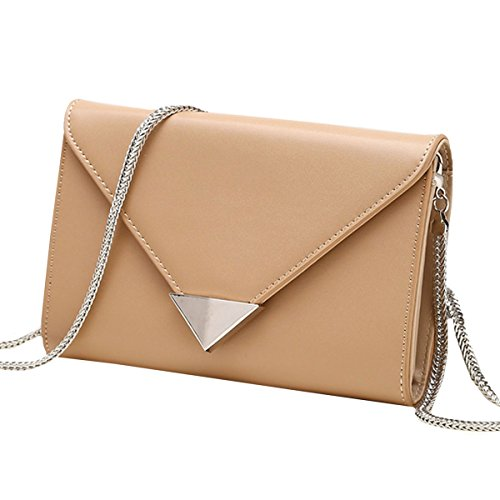 Lined Patent Leather Clutch - Felice Leather Small Evening Envelope Clutches Multi Compartment Handbags Shoulder Bag (kahaki)