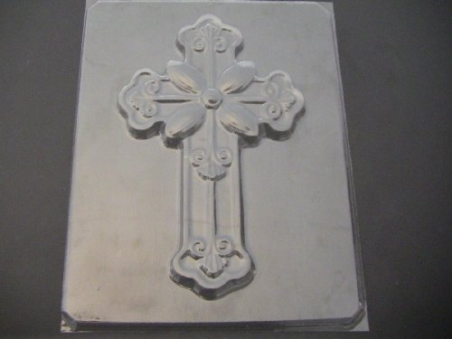 Large 8 x 5 inch Fancy Cross Chocolate Candy Mold