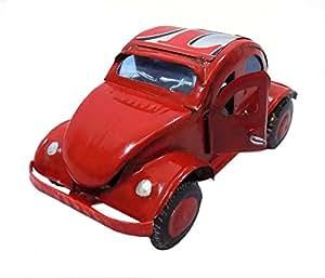 Hecho a mano reciclado de latas coche VW Beetle rojo comercio justo único 12cm x 6cm x 6cm