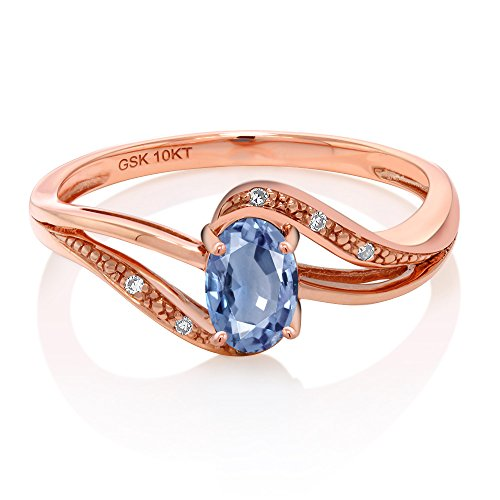 10K Rose Gold 0.59 Ct Blue Sapphire and Diamond Engagement Bypass Ring (Available in size 5, 6, 7, 8, 9)