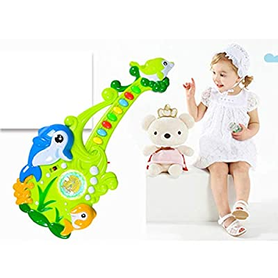 Kids Musical Toy Creative Electric Cartoon Plastic Guitar Toy Musical Instrument: Kitchen & Dining