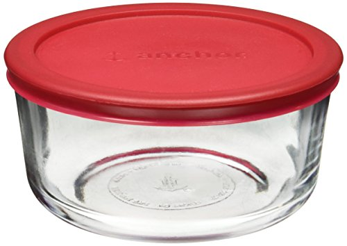 Anchor Hocking Classic Glass Food Storage Container with Lid, Red, 4 Cup