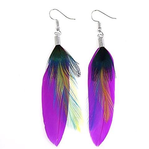 KISSPAT Super Light Peacock Theme Handmade Feather Dangling Earrings - Colored Feather Earrings