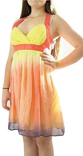 LipsyDamen Kleid, Einfarbig Mehrfarbig Pink, Coral, Yellow