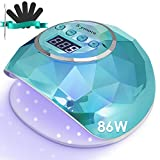 86W UV LED Nail Lamp, SKYMORE Fast Nail Dryer & 4 Timer Setting, Professional LED Light Curing Lamp, Gel Nail Light with LCD Display & Auto Sensor for Fingernail and Toenail Machine (Green) (Color: Green)