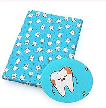 Tela dientes dentistas medic@s enfermer@s sanitari@s corte por metros 1 und 0.50 x 1.40 2 unid 1.00 x 1.40 cm etc gorros chaquetas pantalones de Chipyhome